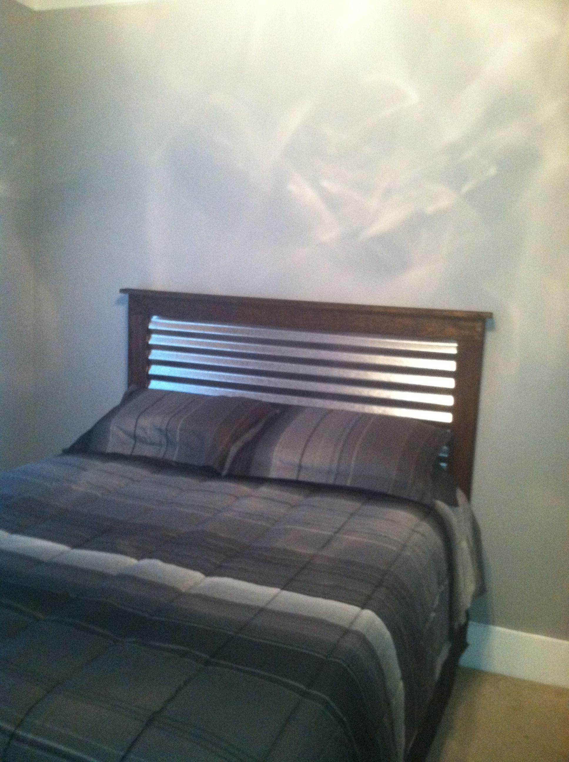 Corrugated metal on wood headboard | I made it | Pinterest ...