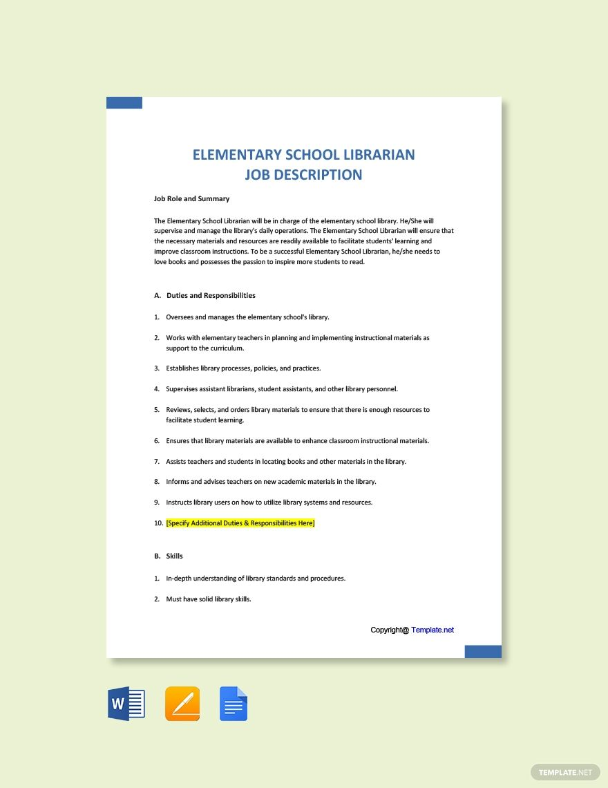 Free Elementary School Librarian Job Ad And Description Template Word Doc Google Docs Job Description Template Psychologist Job Description Job Ads