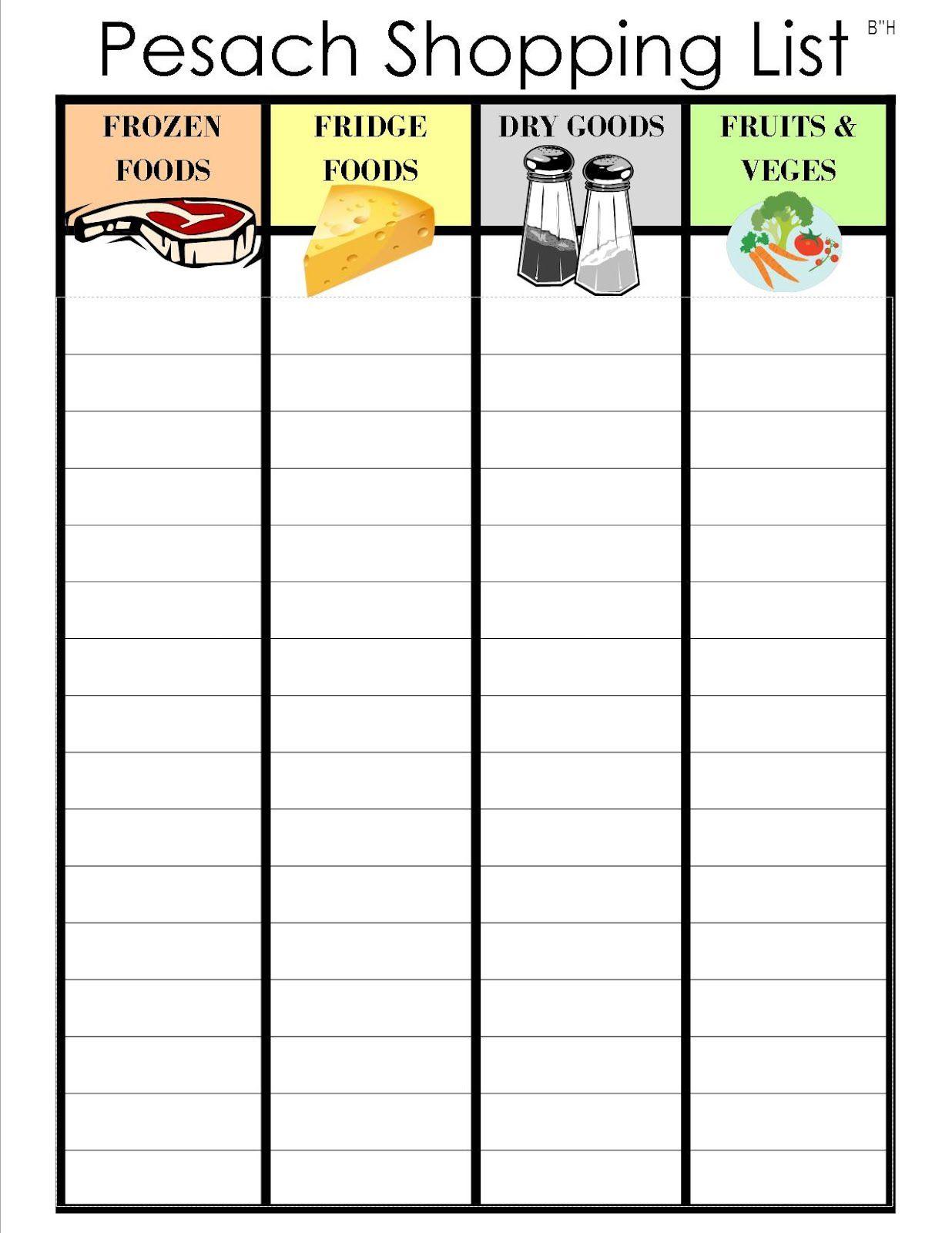Shopping List Template Printable