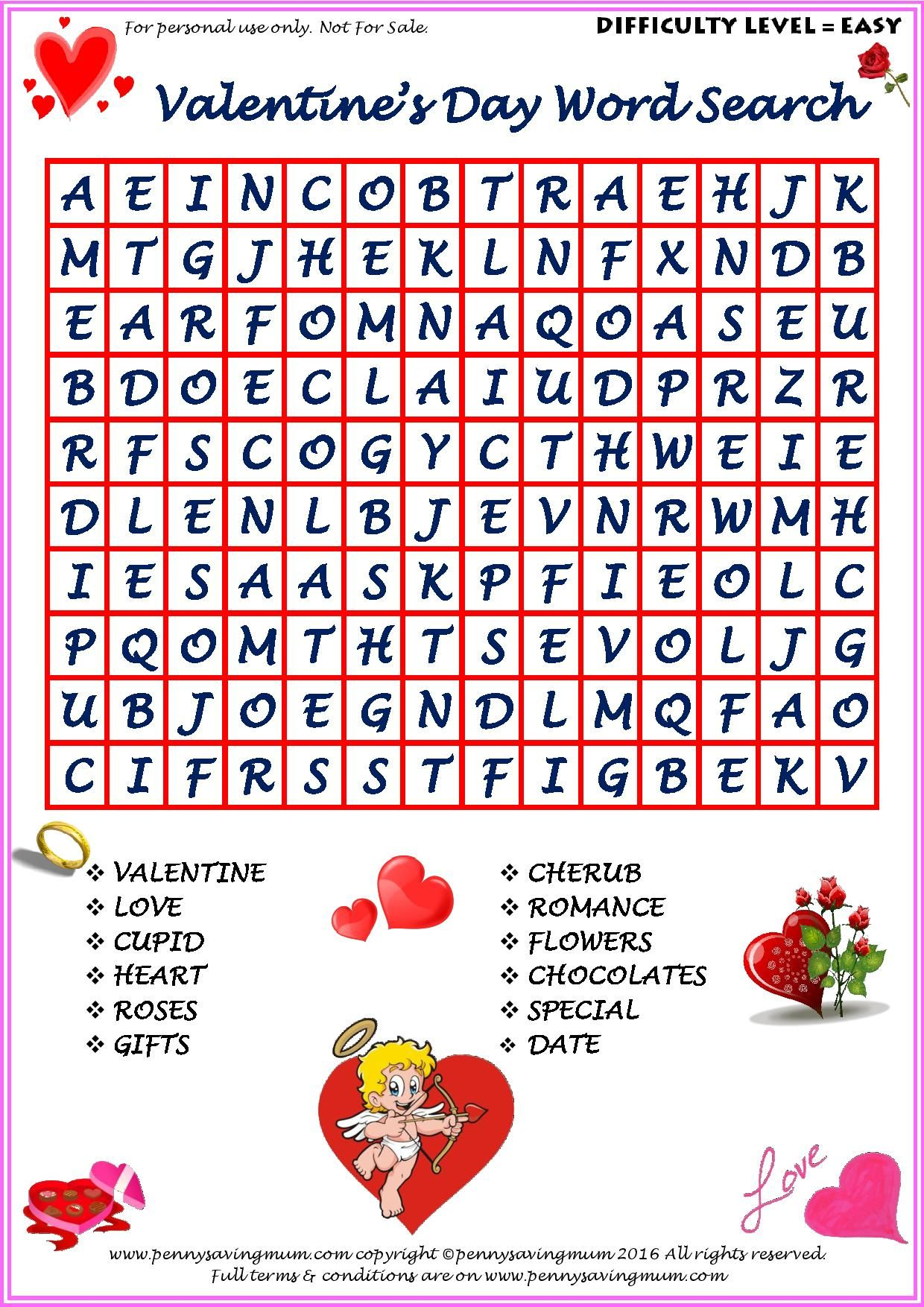Word Search Valentine S Day Easy Version
