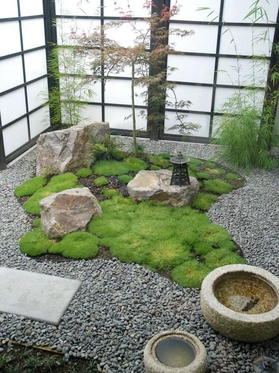 japanischer garten gestalten kiesel weg moos gartenbrunnen, Gartengestaltung