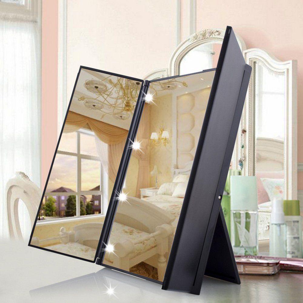 uvistar kosmetikspiegel mit 8 leds beleuchtung faltbare. Black Bedroom Furniture Sets. Home Design Ideas