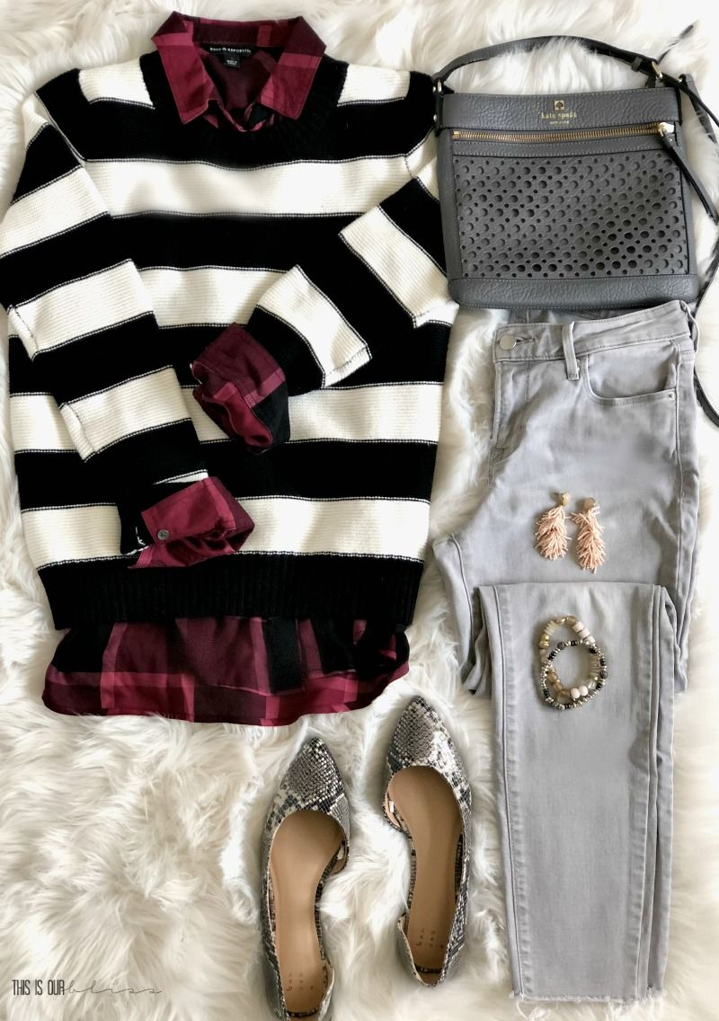 f45b663a7f1fc3 5 Outfit Ideas with a Black and White Striped - One Sweater 5 ways - Five