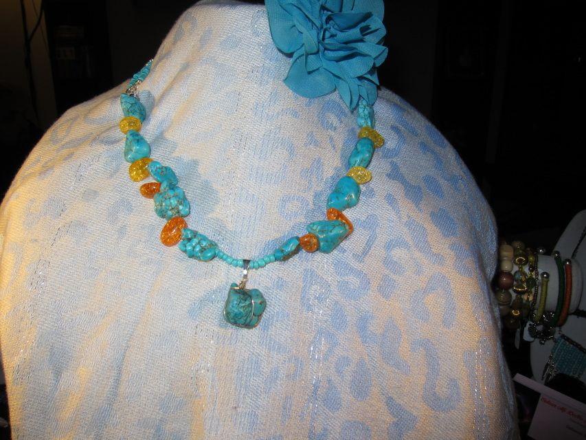Turquoise Howlite and Amber Cracked Stone Necklace www.colourmideeva.com
