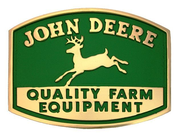 (MS61177) John Deere Quality Farm Equipment Logo Belt Buckle