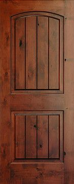 Interior Doors Rustic Arch 2 Panel V Grooved Knotty Alder Wood Door Mediterranean