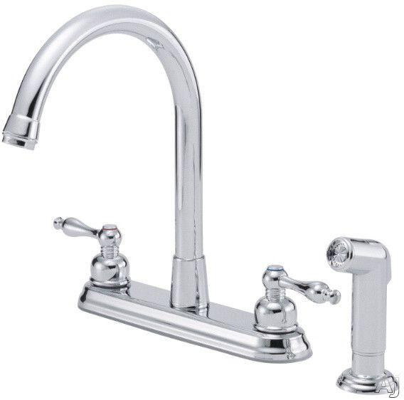 Danze D422055 Double Lever Cast Spout Kitchen Faucet With 8 Reach 12 High Spout Ceramic High Arc Kitchen Faucet Kitchen Faucet With Sprayer Kitchen Faucet