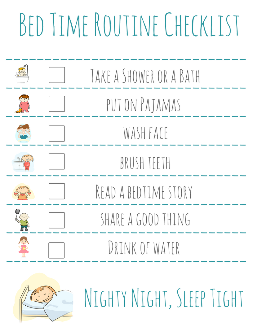 Bed Time Routine Checklist: Free Printable