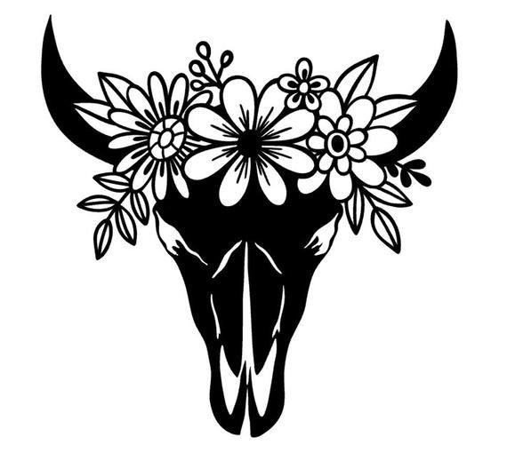 Boho Inspired Cow Skull w/ Floral Headband Vinyl Decal