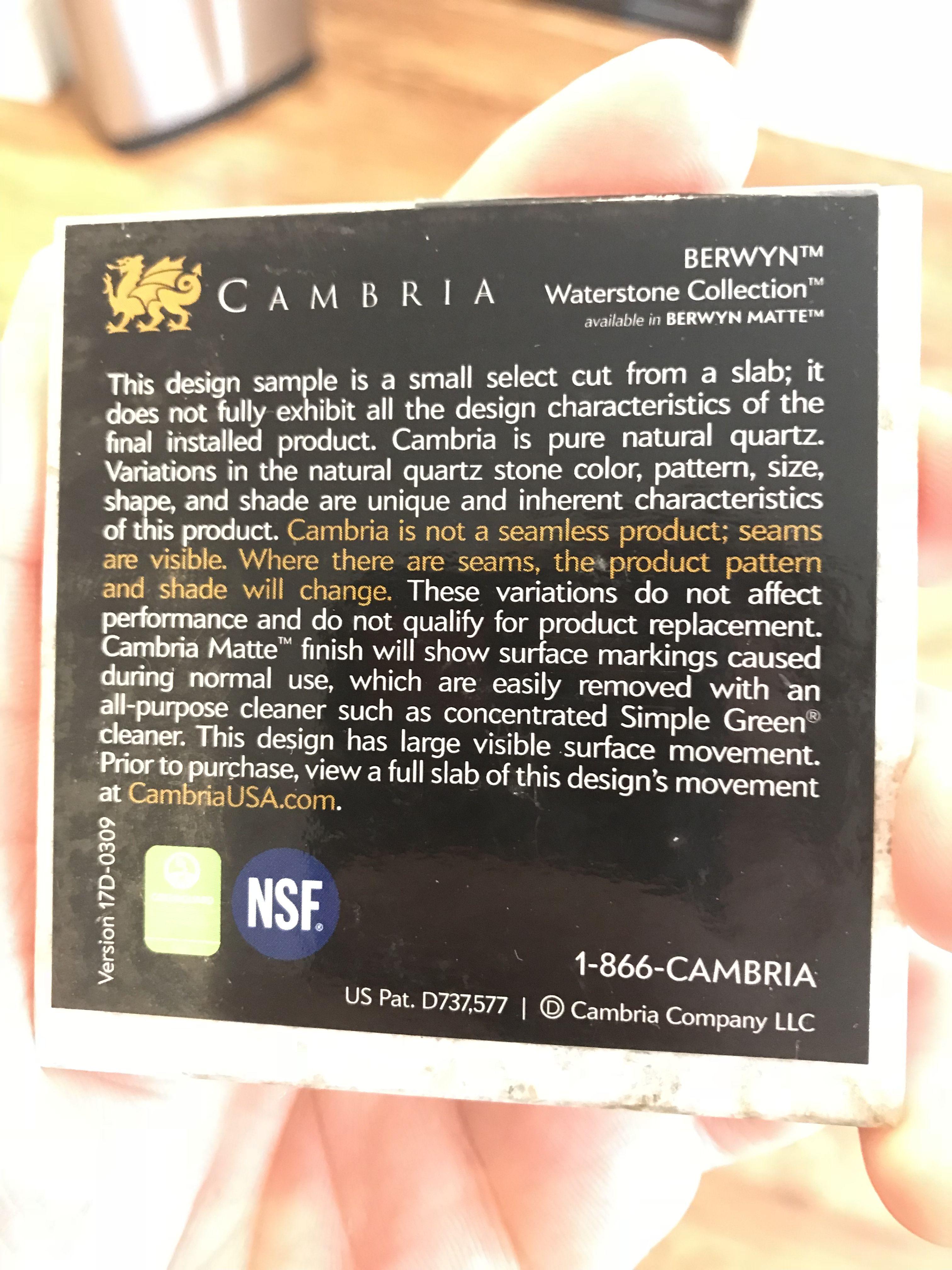 Berwyn Cambria Kitchen: Countertop Selection - Cambria Berwyn