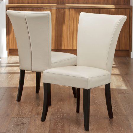 Noble House Becker Ivory Leather Dining Chairs Set Of 2 White