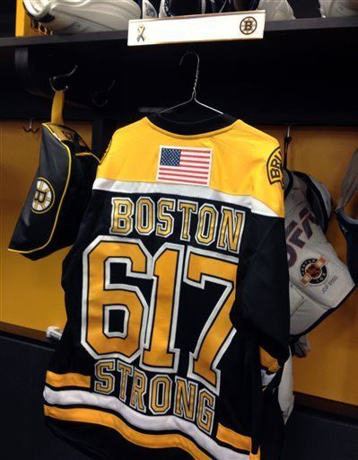 """BOSTON: Boston Bruins display's the """"Area-Code-Number"""" on the back of their team jersey"""