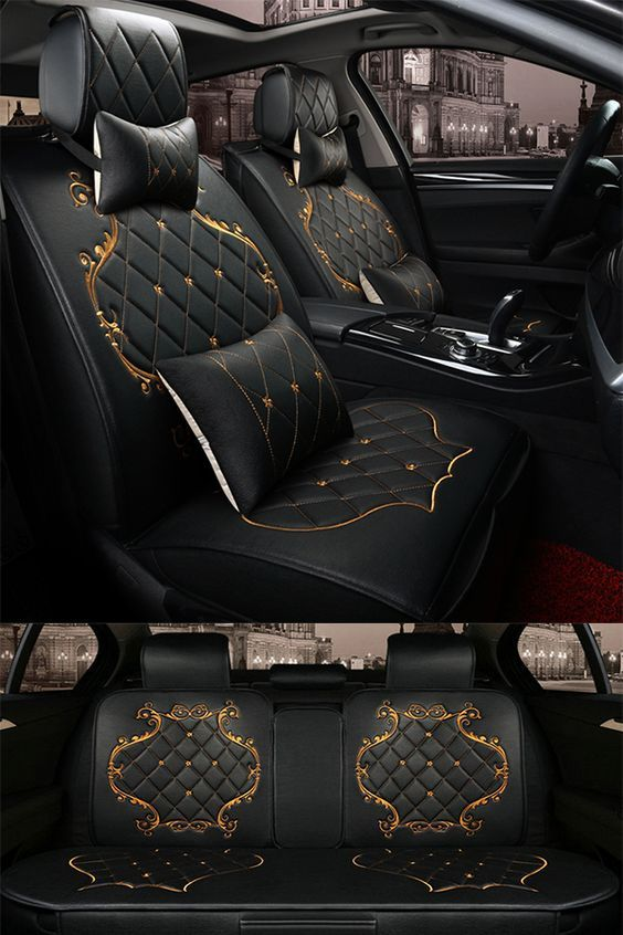 Luxury Pattern With Classic Grid Black Design With Beautiful Gold Lines Decoration Universal Five Car Seat Cover Luxury Car Interior Car Seats Carseat Cover