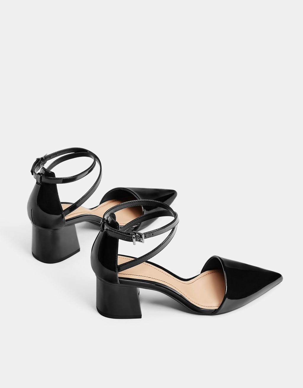 28a0e5ad49e Faux patent leather mid-heel shoes in 2019 | Shoes | Mid heel shoes ...