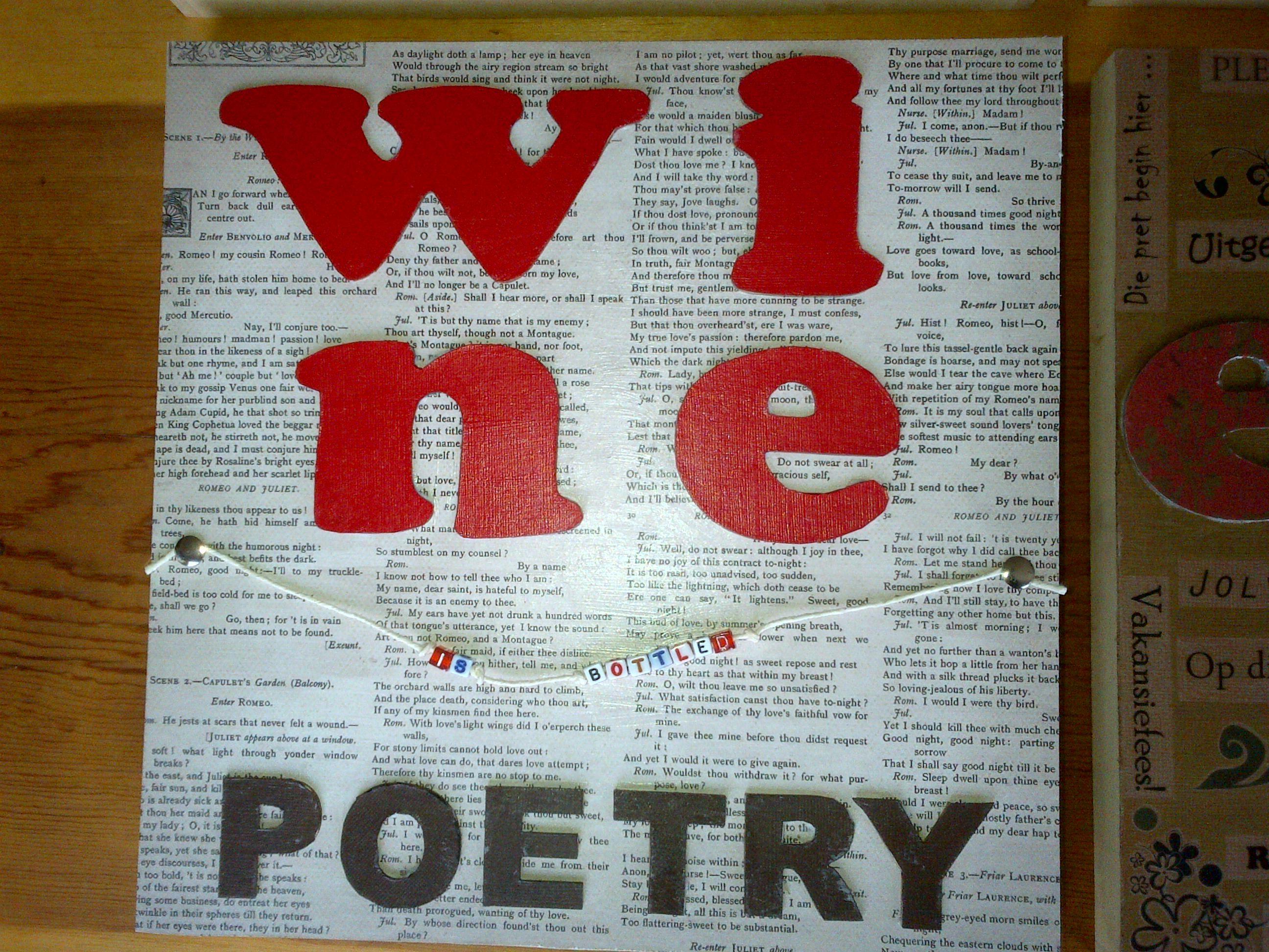 Kombuis Muurdekor Wine Is Bottled Poetry Poetry Book Cover How To Make