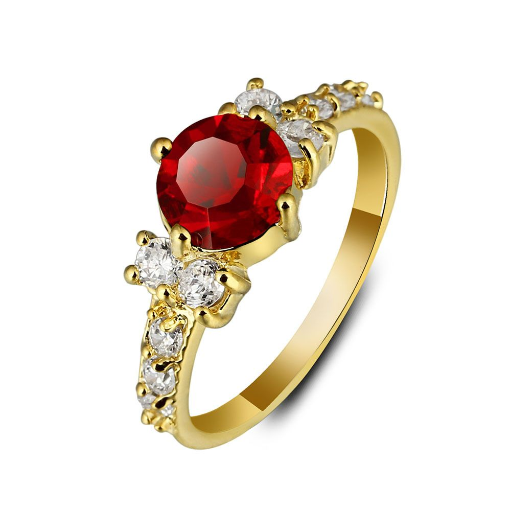 Fashion Shiny Ruby Ring Women Charming Engagement Jewelry Real