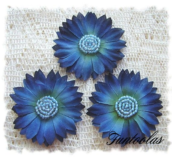 Tessa  2 inch Silk Daisy Navy Set of 3 by Funtoolas on Etsy, $2.99