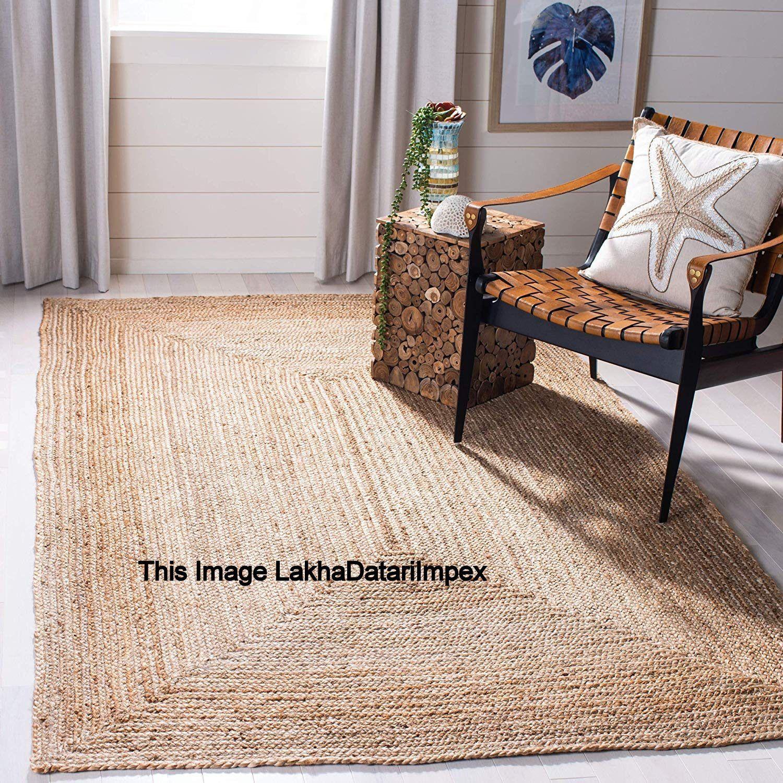 Indian Braided Floor Rug Handmade Jute Rug Natural Jute Rectangle