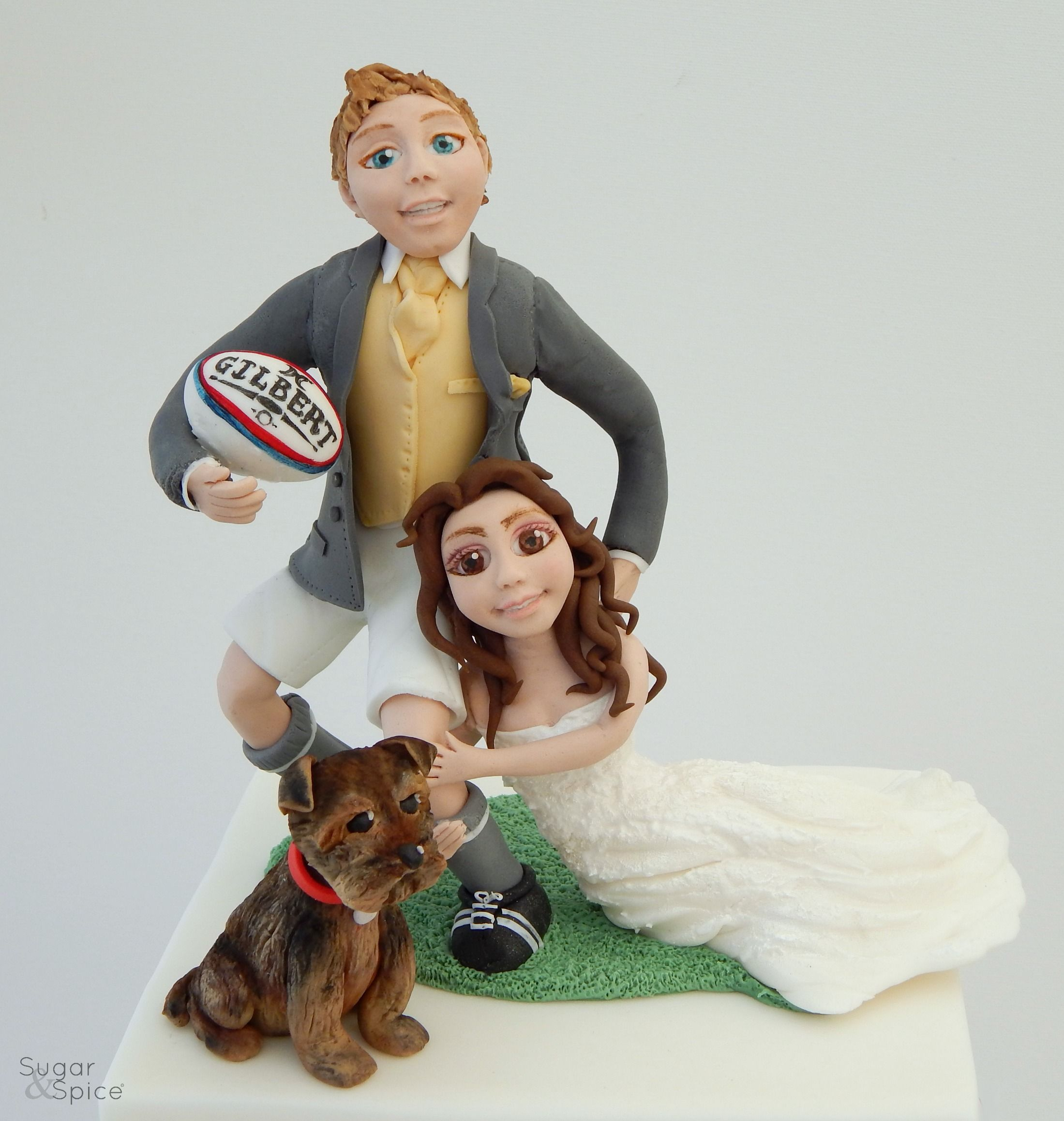 Wedding cake topper Bride and groom topper rugby theme rugby