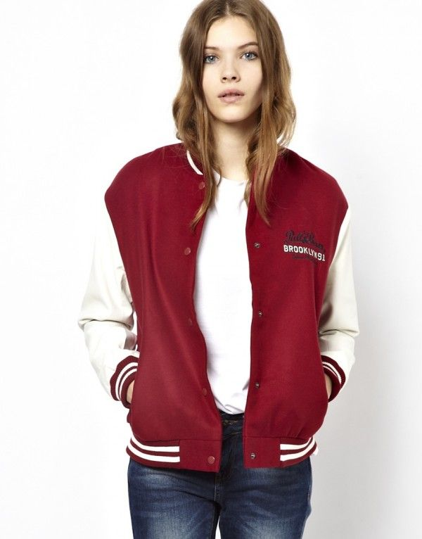 Pull&Bear Baseball Jacket With Leather Look Sleeve | Women's ...