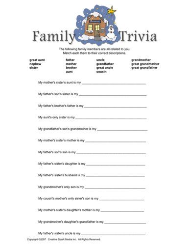 Family Trivia Family Reunion Pinterest