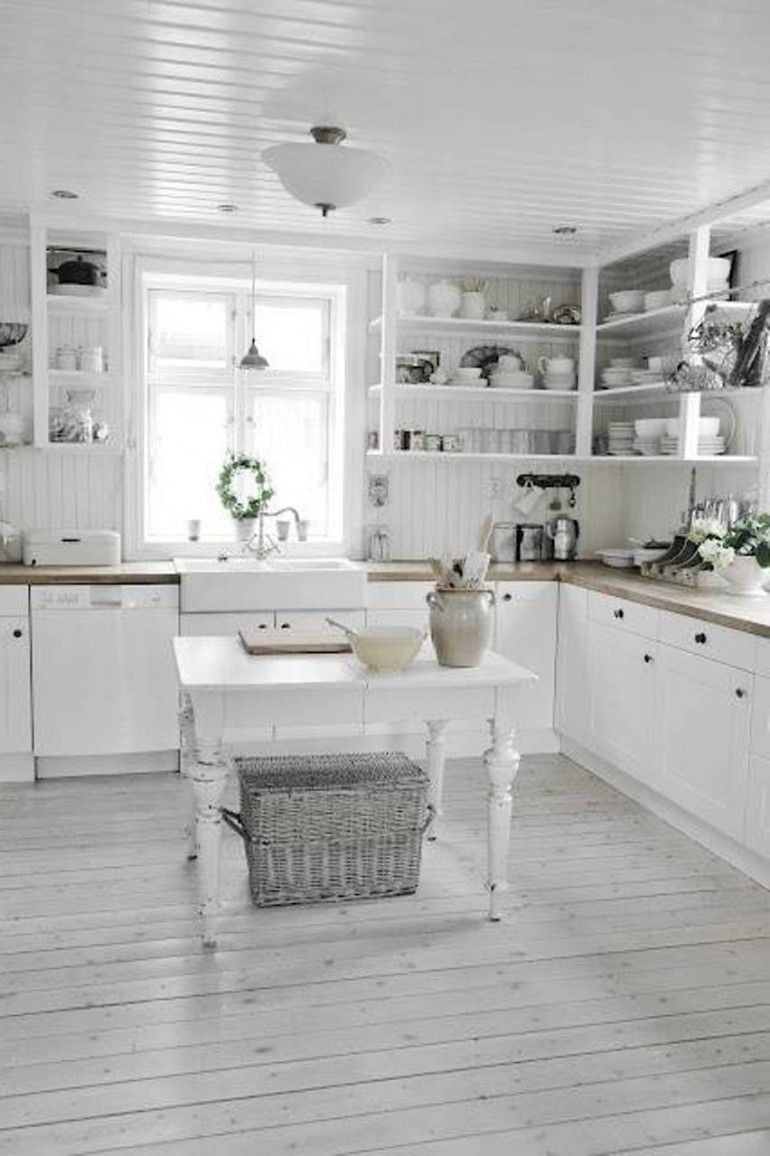 Shabby Chic Kitchen Ideas With Small Table Grey Board Floors  W/stained/painted Look In White Kitchen
