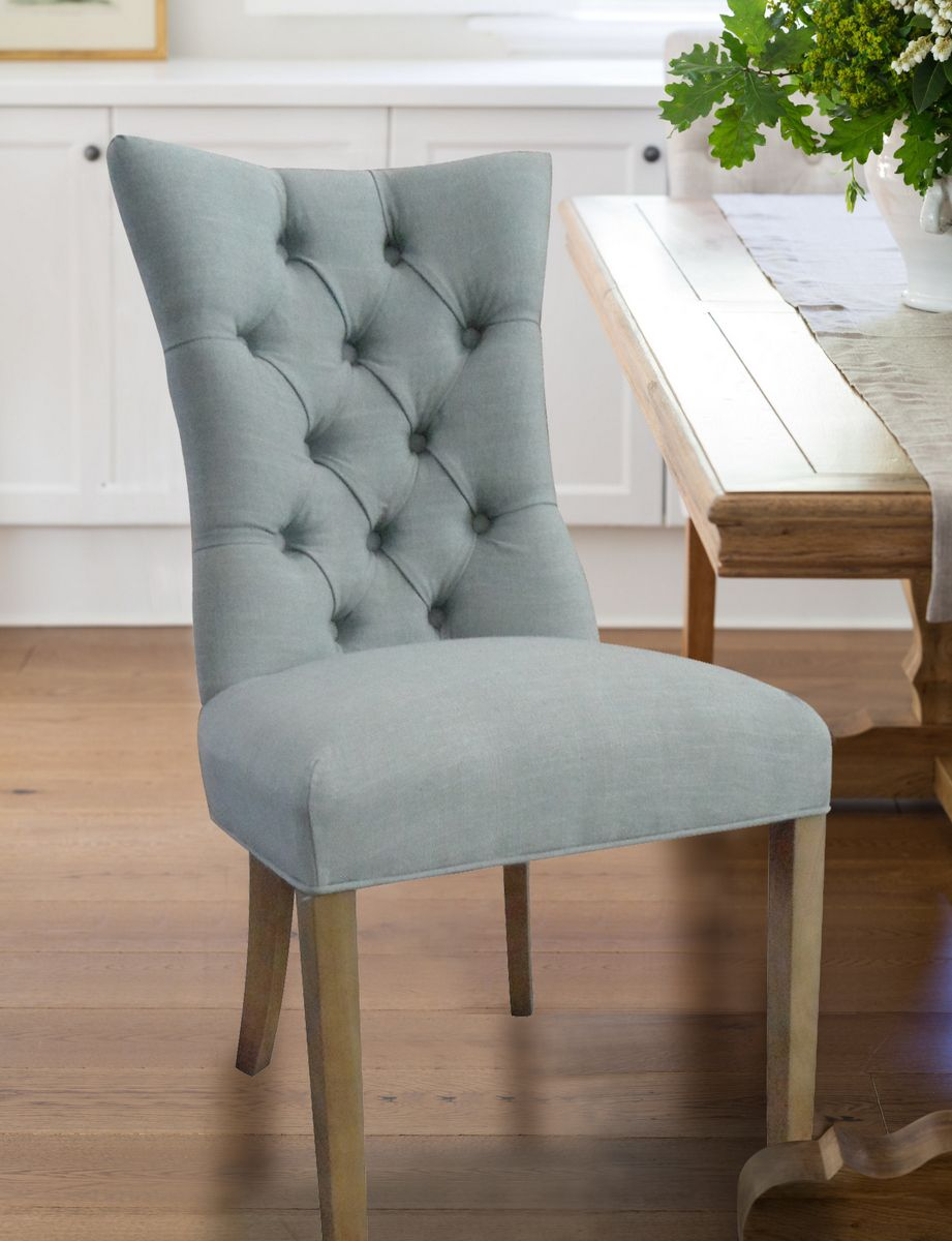 Duck egg blue linen curved back buttoned dining chair from