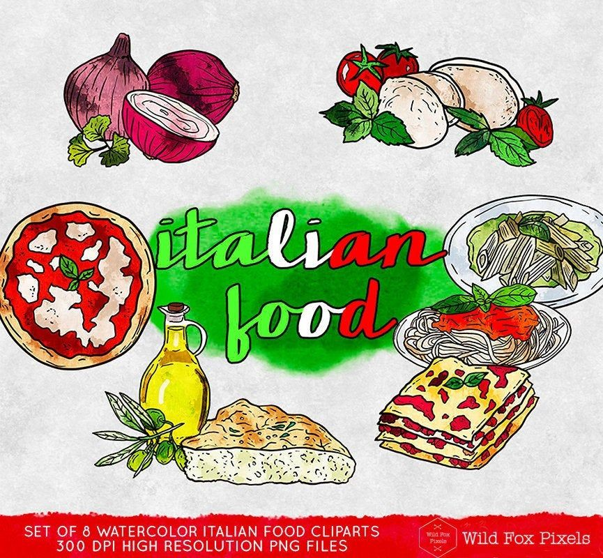 Italian Food Clipart Commercial Use Italian Kitchen Clipart Watercolor Digital Clip Art Digital Images Instant Download Food Dining Clip Art Digital Clip Art Italian Recipes