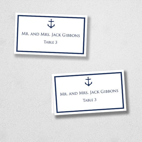Avery Place Card Template Anchor INSTANT DOWNLOAD Escort Card - Avery place cards template