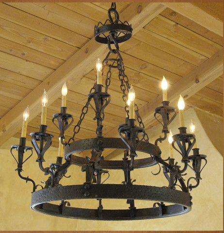 C 01 Santa Barbara Spanish Style Wrought Iron Chandelier Wrought