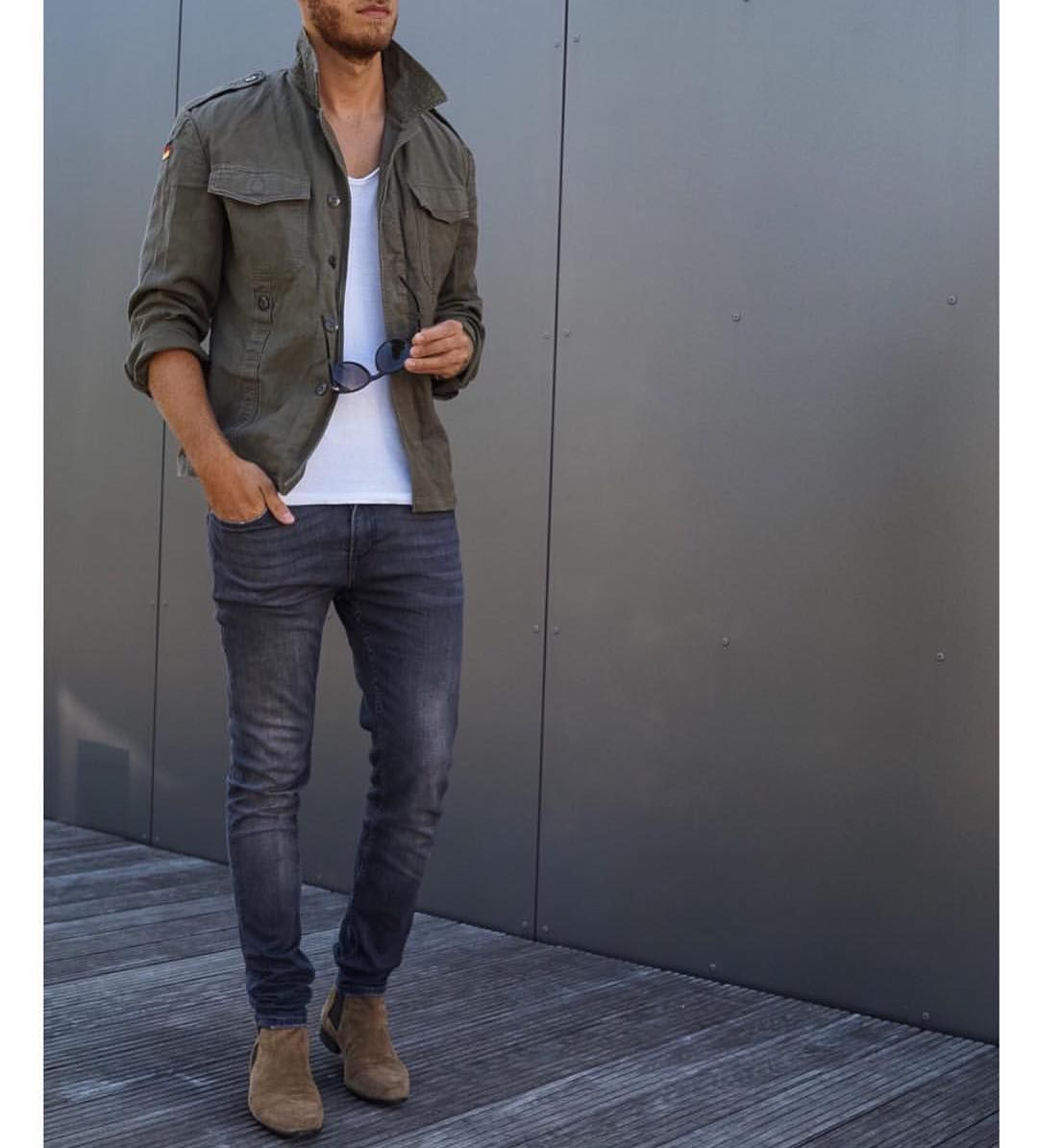 Military green jacket jeans and #chelseaboot by @berndhower