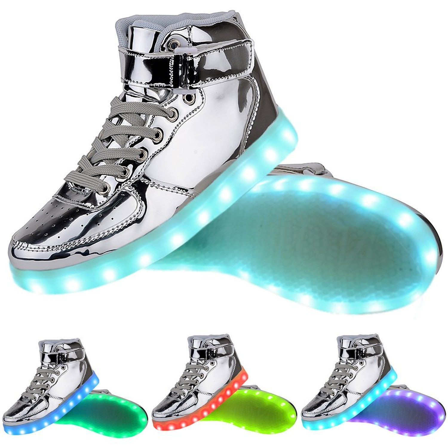 TUTUYU Kids&Adult 11 Colors LED Light Up Shoes High Top Fashion Flashing  Sneakers Silver Size Table: brfoot length length length length length  length length ...