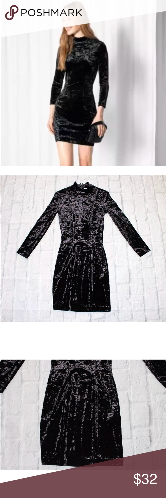 e264e96f988 Other Stories Black Velvet Long Sleeve Dress In excellent condition. Bust  12