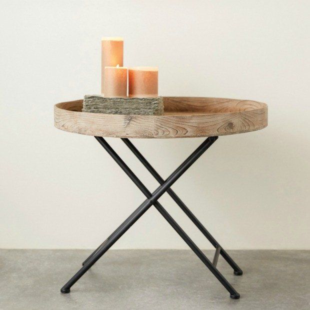 Merveilleux Round Folding Wooden Tray Table