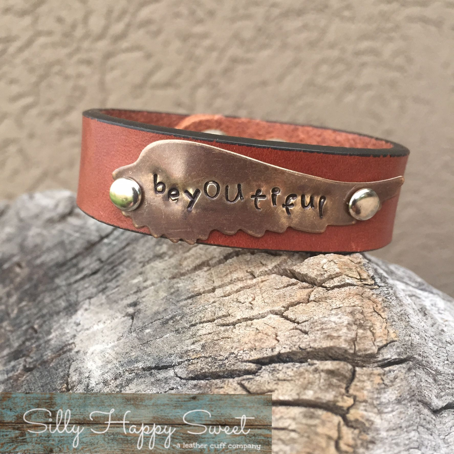 Custom handstamped leather cuff in mixed metal. beYOUtiful. Customize your own handstamped leather cuff with a phrase you love. Visit my Etsy shop to chose your cuff.