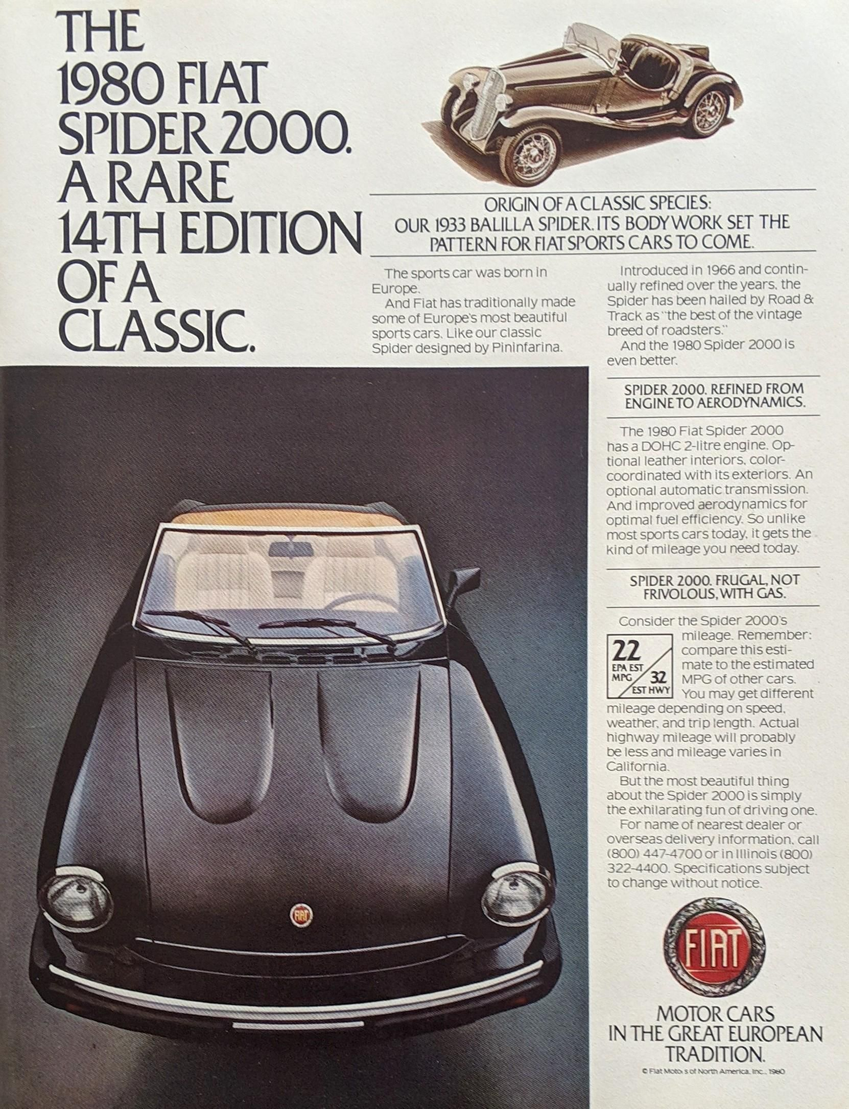 The 1980 Fiat Spider 2000 1980 Vintageads Ads Vintage