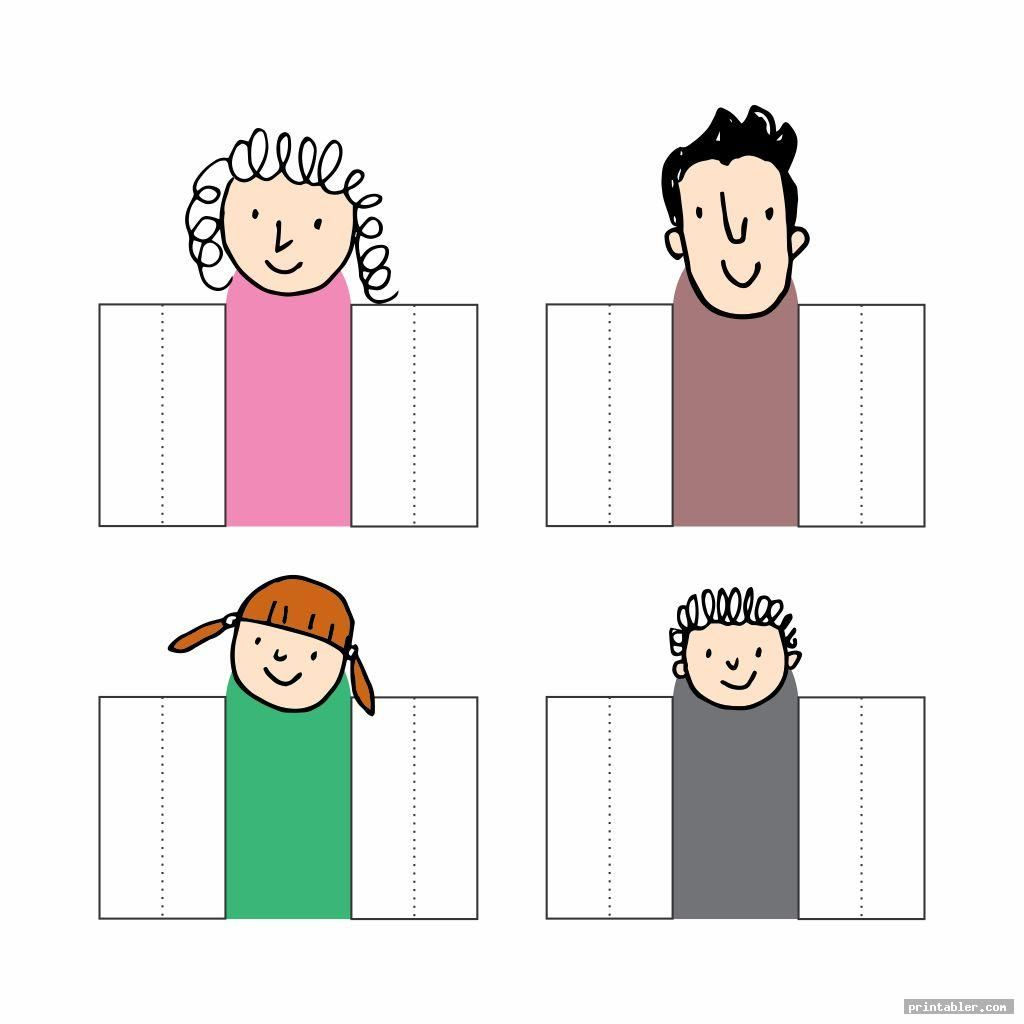 Doodle White And Black Family Finger Puppets Printable