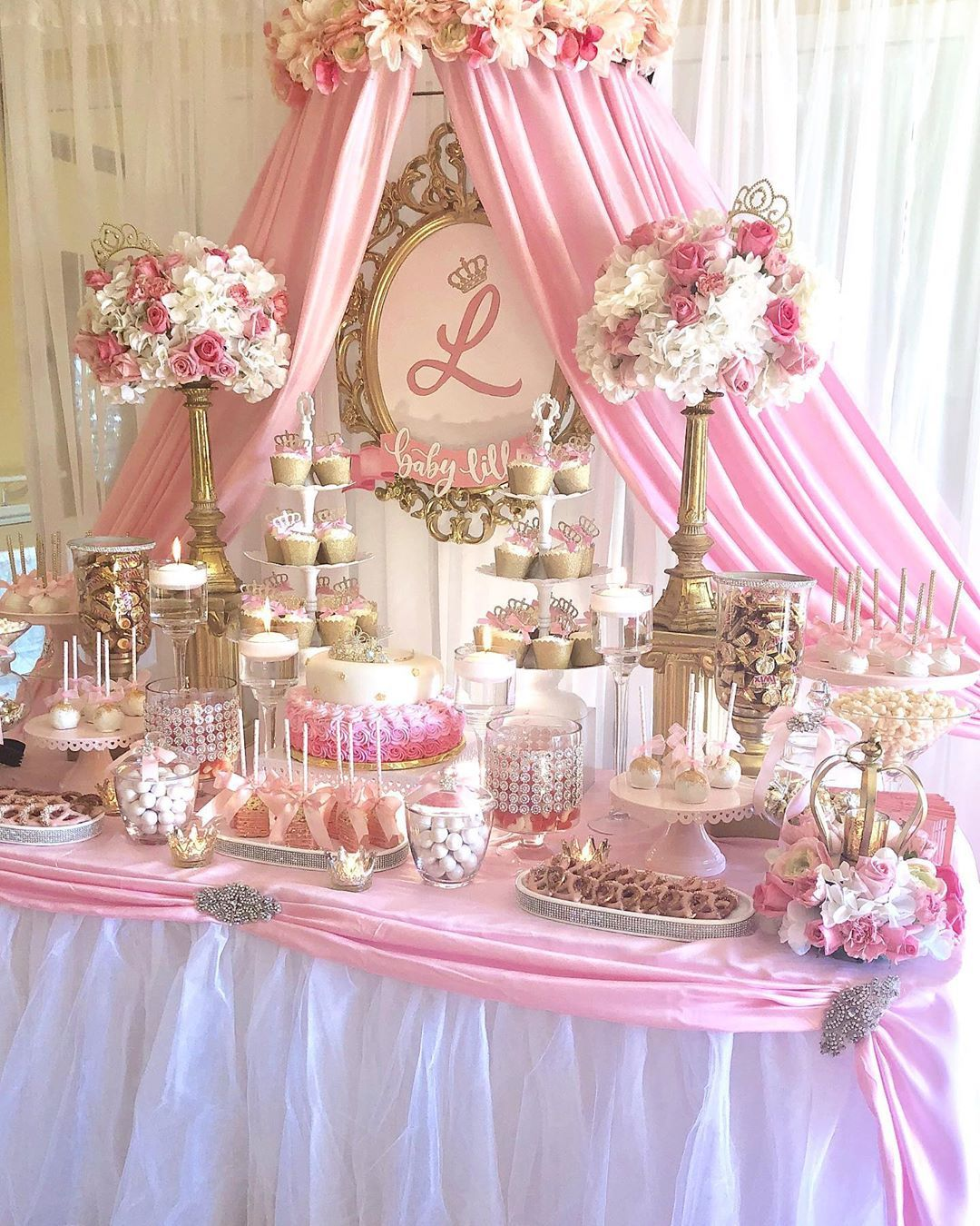 Sweet Dreams Candy Tables On Instagram Princess Baby Shower Candy Buffet Florals Sweetdreamsbydana C In 2020 Baby Shower Princess Candy Buffet Tea Party Table