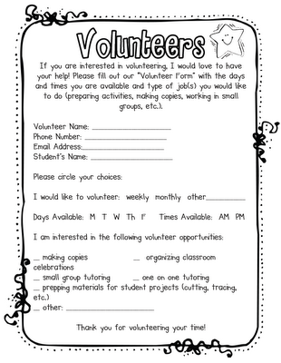 Fabulous In First Free Download Parent Volunteer Form Love That