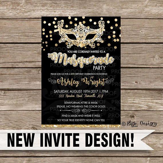 Custom Masquerade Party Invitation | Masquerade party ...