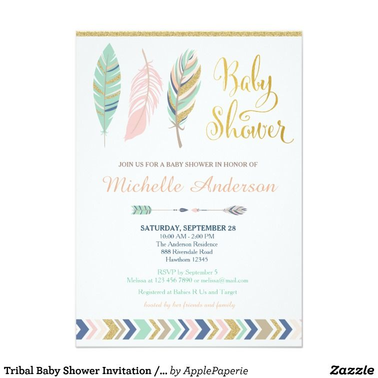 Tribal Boho Baby Shower Invitations With Feathers And Arrows In