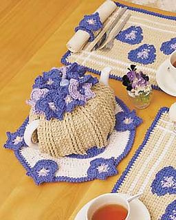 © Lily / Sugar'n Cream  search your local libraries Pansy Motif Tea Cozy by Lily / Sugar'n Cream