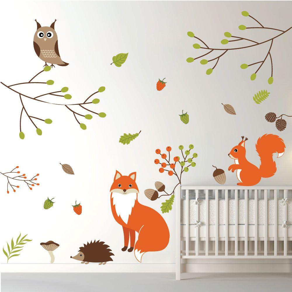 Details About Woodland Animals Fox Owl Wall Sticker Set Ws 44978