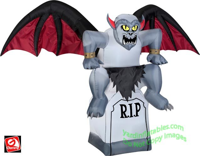 Gemmy Airblown Inflatable Gargoyle Sitting On TombstoneItem Id: 51720 Retail Price: $99.95 Your Savings: $30.00 Your Price: $89.95 On sale: $69.95  Gargoyle With Black and Red Wings Sitting On R.I.P Tombstone!  5 ½' Tall x 7 ½' Wide