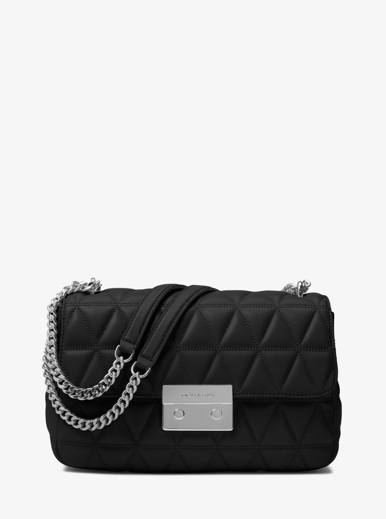 cc0e4a1e90a7 Michael Kors Sloan Large Quilted-Leather Shoulder Bag - Black ...