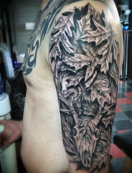 Half sleeve duck hunting tattoo designs for males for Camo sleeve tattoos