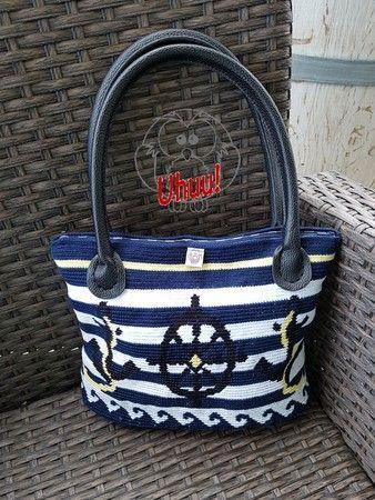 Hand-Tasche Maritim, Häkelanleitung | Taschen | Pinterest | Maritim ...