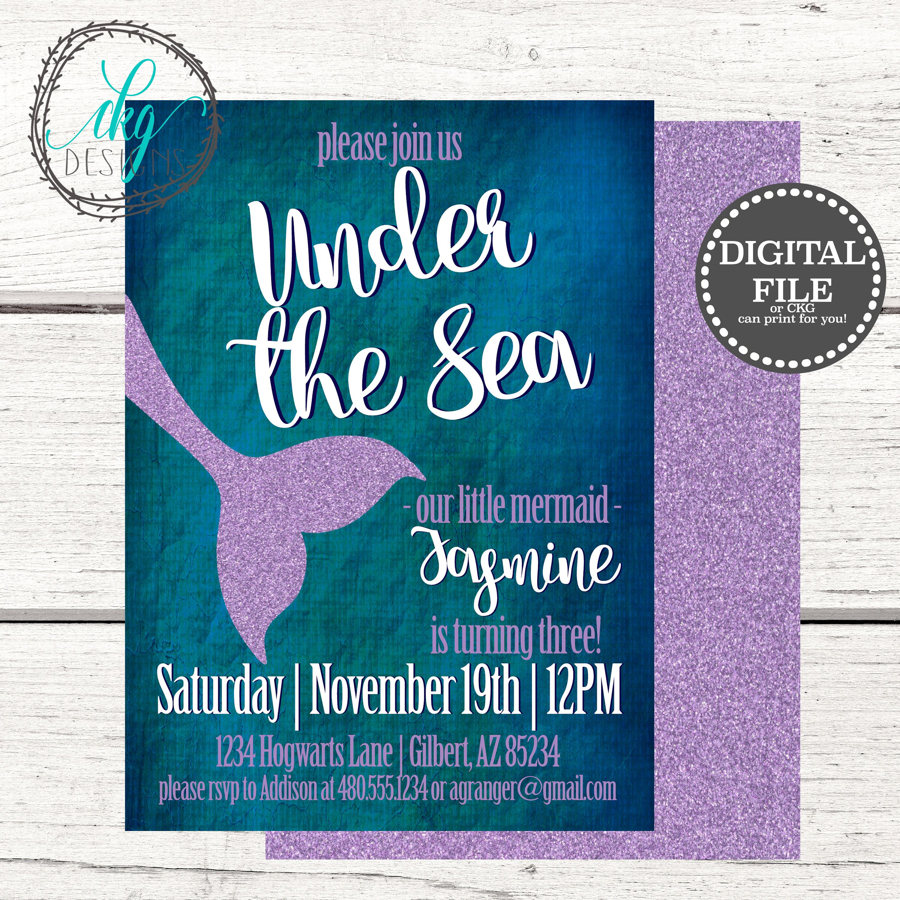Mermaid Birthday Invitation, Mermaid Party, Pool Party, Under the ...