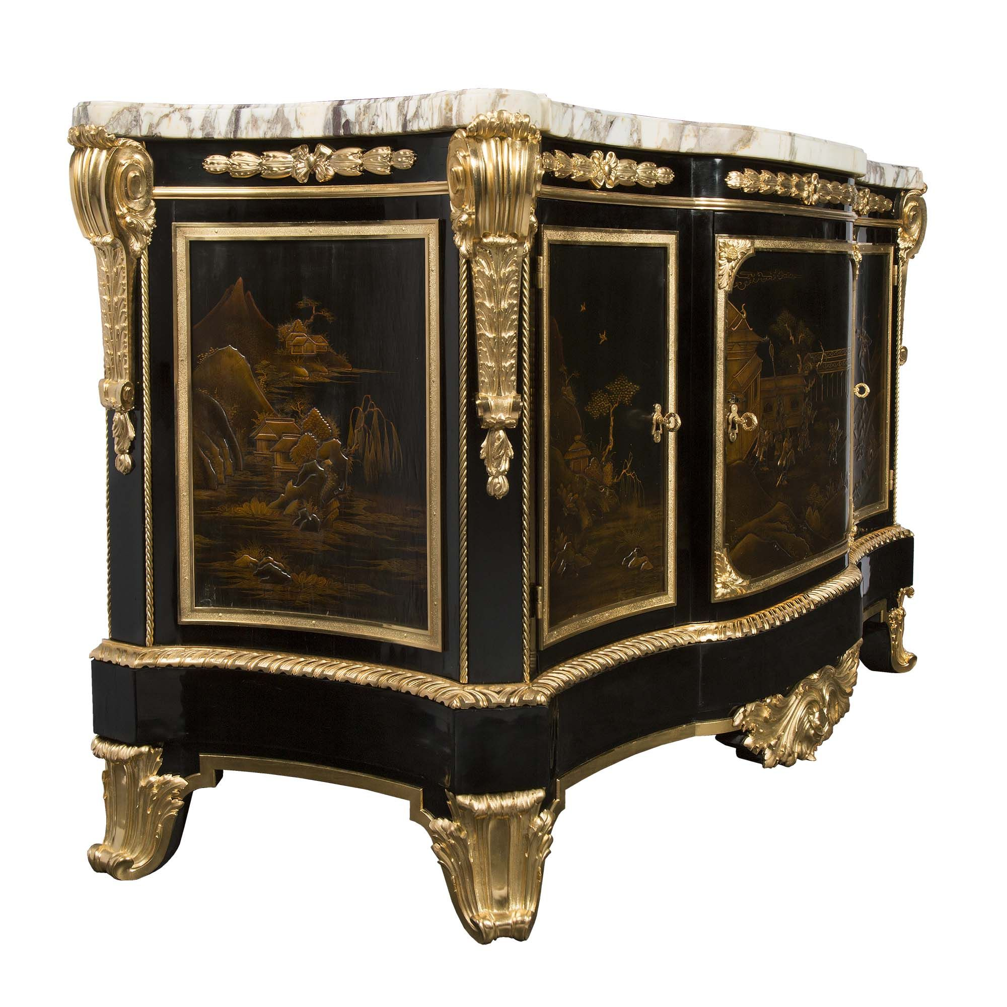 🔆French 19th Century Louis XVI St Ormolu And Japanese Lacquer