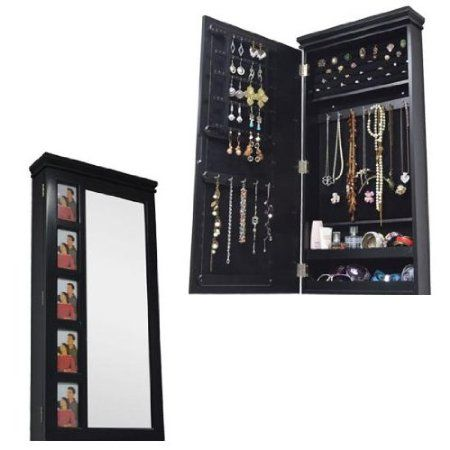 hartleys black wall mounted mirror jewellery organiser cabinet kitchen home. Black Bedroom Furniture Sets. Home Design Ideas